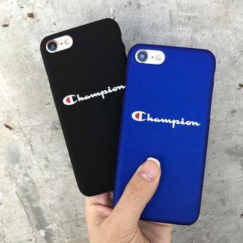 Marque Champion Mat Noir Bleu En Plastique Dur Cas de Téléphone Coque Fundas Couverture Pour iphone 7 7 Plus 6 S 6 S 6 Plus 8 8 Plus 5 S 5S SE X
