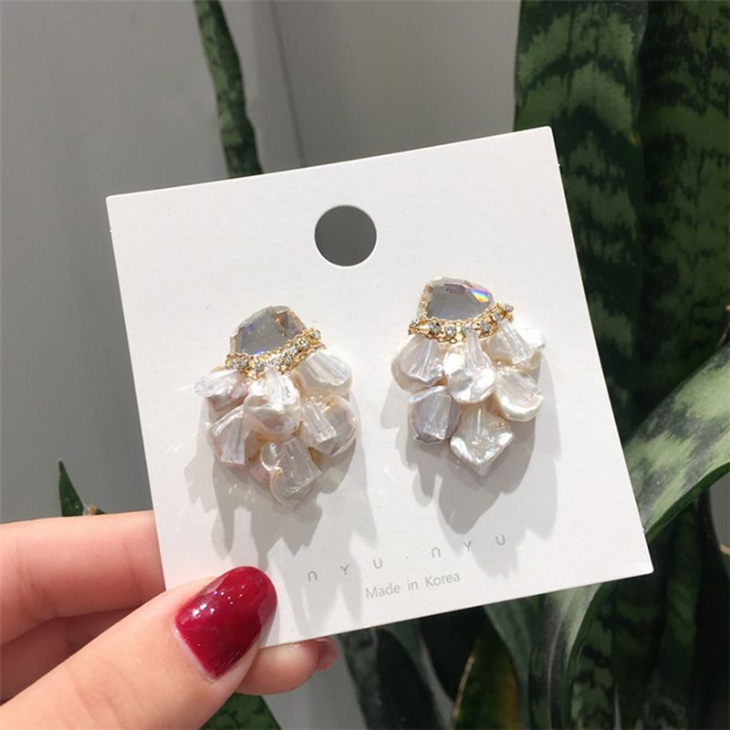 MENGJIQIAO 2019 Japan Korean Baroque Handmade Freshwater Pearl Stud Earrings For Women Shiny Crystal Jewelry Fashion Oorbellen