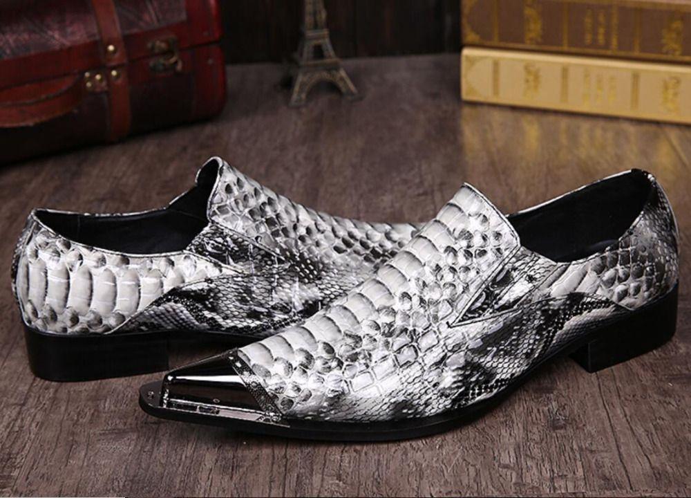 Italienische echtem leder spitz metall spitze grau python handgemachte männer leder kleid schuhe mode friseur schuhe