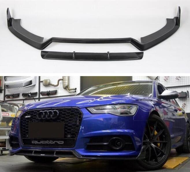 Carbon Fiber Front Lip Splitter Bumper Schürzen Tasse Klappen Spoiler FÜR AUDI A6 S6 RS6 Avant/Allroad 2015 2016 2017 2018 DURCH Fedex