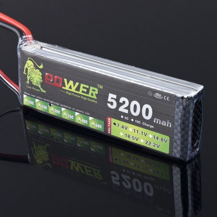 Lion Power 2S 7.4v 5200mah 30C Lipo battery pack for Rc car buggy Monster Truck Backup Li-Po battery