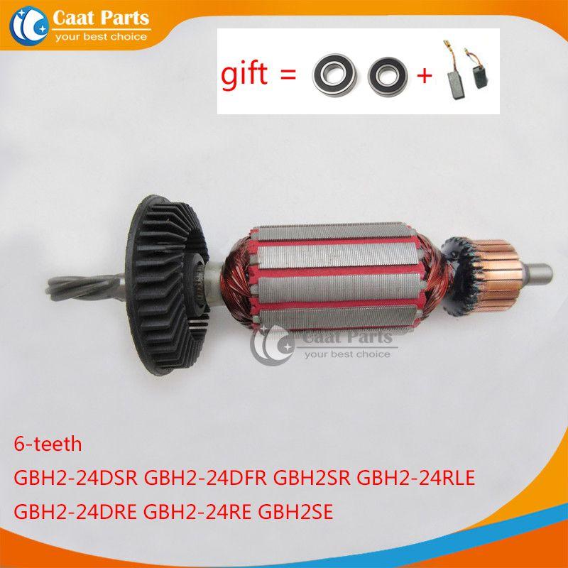 AC220-240V 6 Dents Arbre D'entraînement Rotor D'induit pour Bosch 24 GBH2-24 GBH2-24DSR GBH2-24DFR GBH2SE GBH2-24RLE GBH2-24DRE