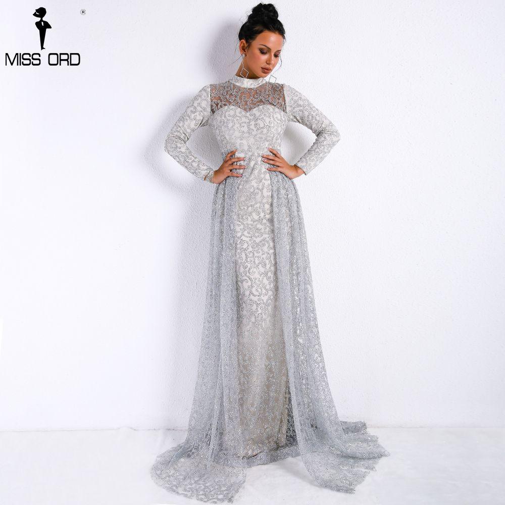Missord 2018 Women Sexy High Neck Long Sleeve Retro Geometry Dresses Female Glitter Maxi Elegant Party Dress Vestdios FT9343