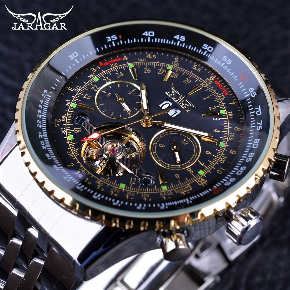 Jaragar 2017 Flying Series Golden Bezel Scale Dial Design Stainless Steel Mens Watch Top Brand Luxury Automatic Mechanical Watch