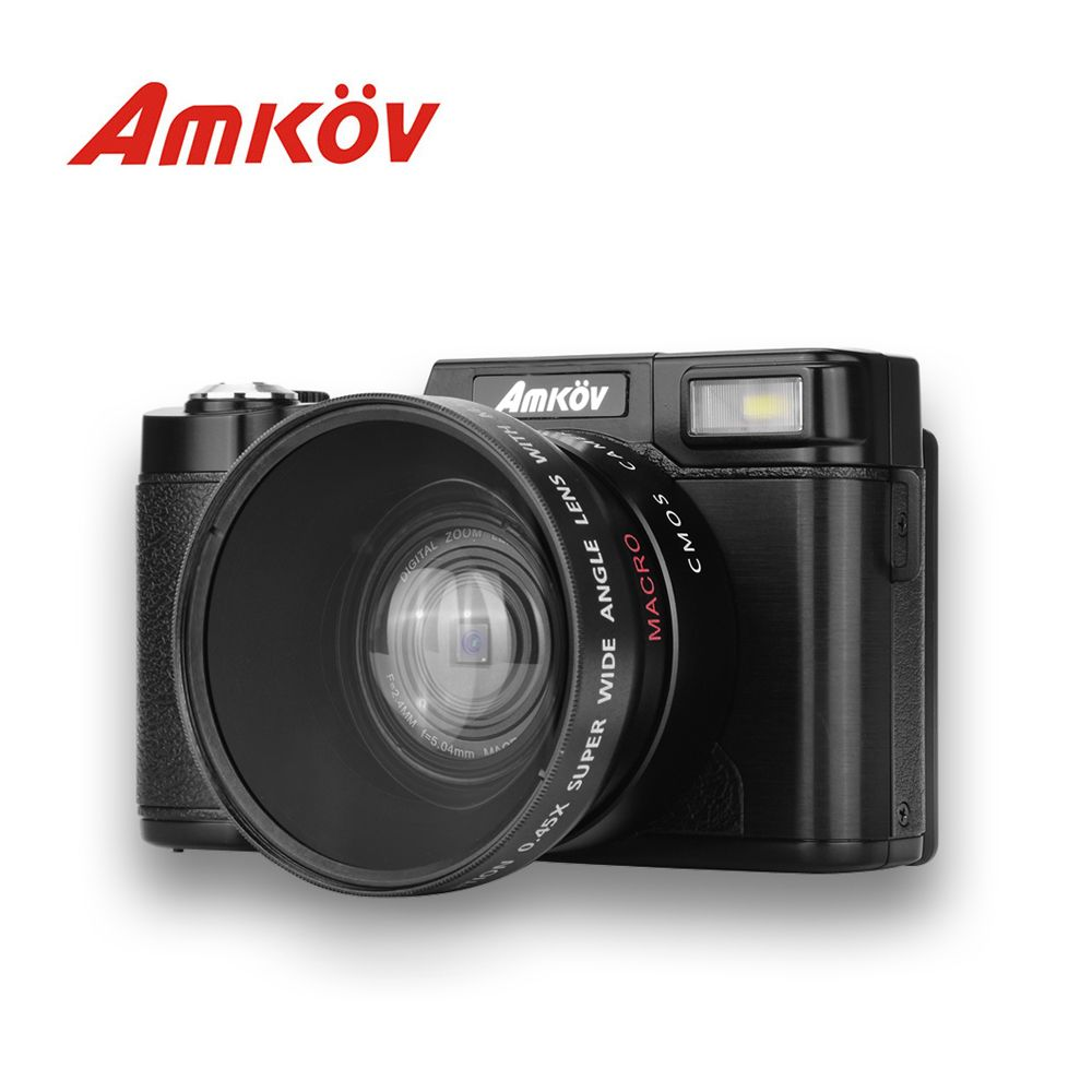 AMKOV CD - R2 Digital Camera Video Camcorder With 3 Inch TFT Screen With UV Filter 0.45X Super Wide Angle Lens