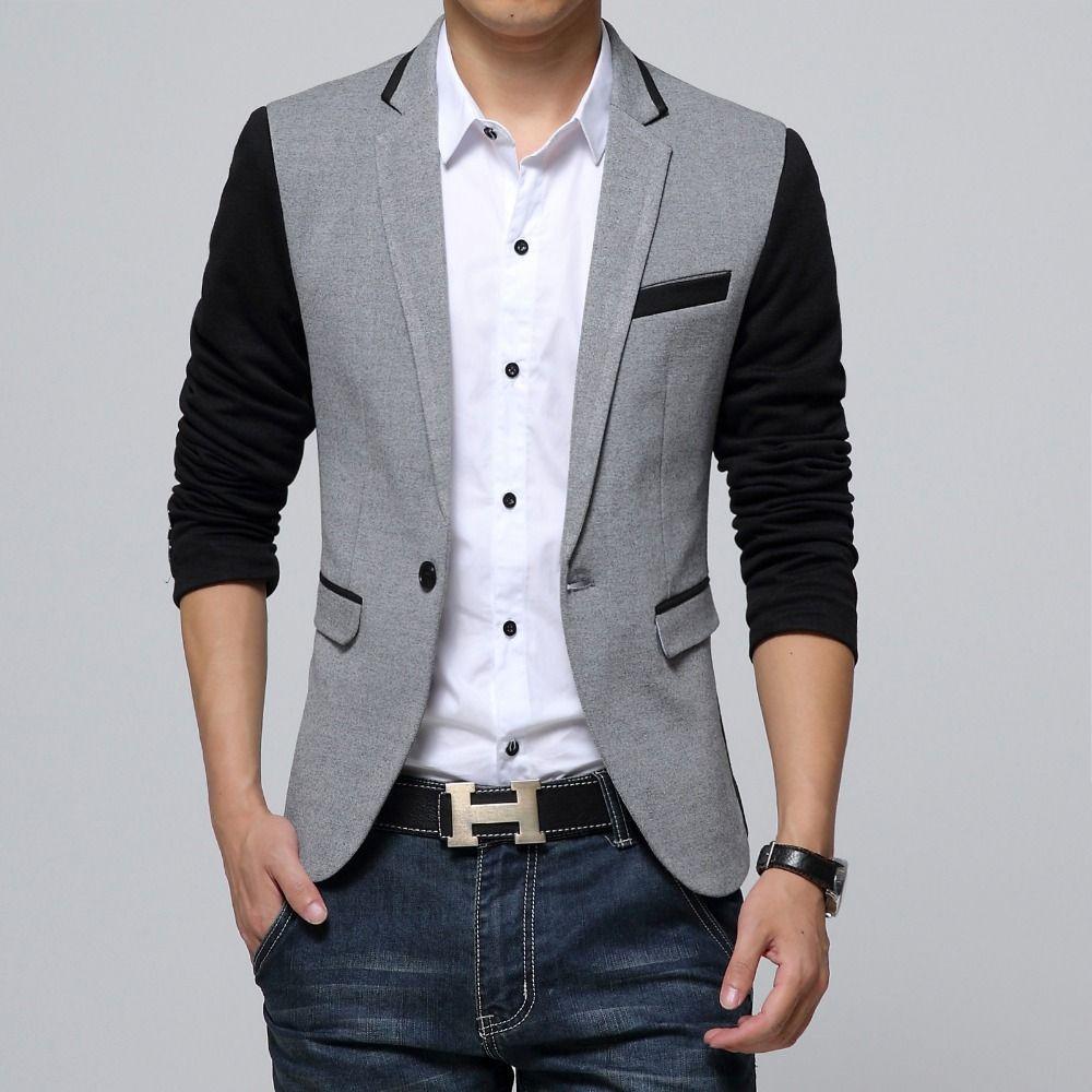 New Slim Fit Casual veste Coton Hommes Blazer Veste Unique Bouton Gris Hommes Costume Veste 2018 Automne Patchwork Manteau Mâle suite