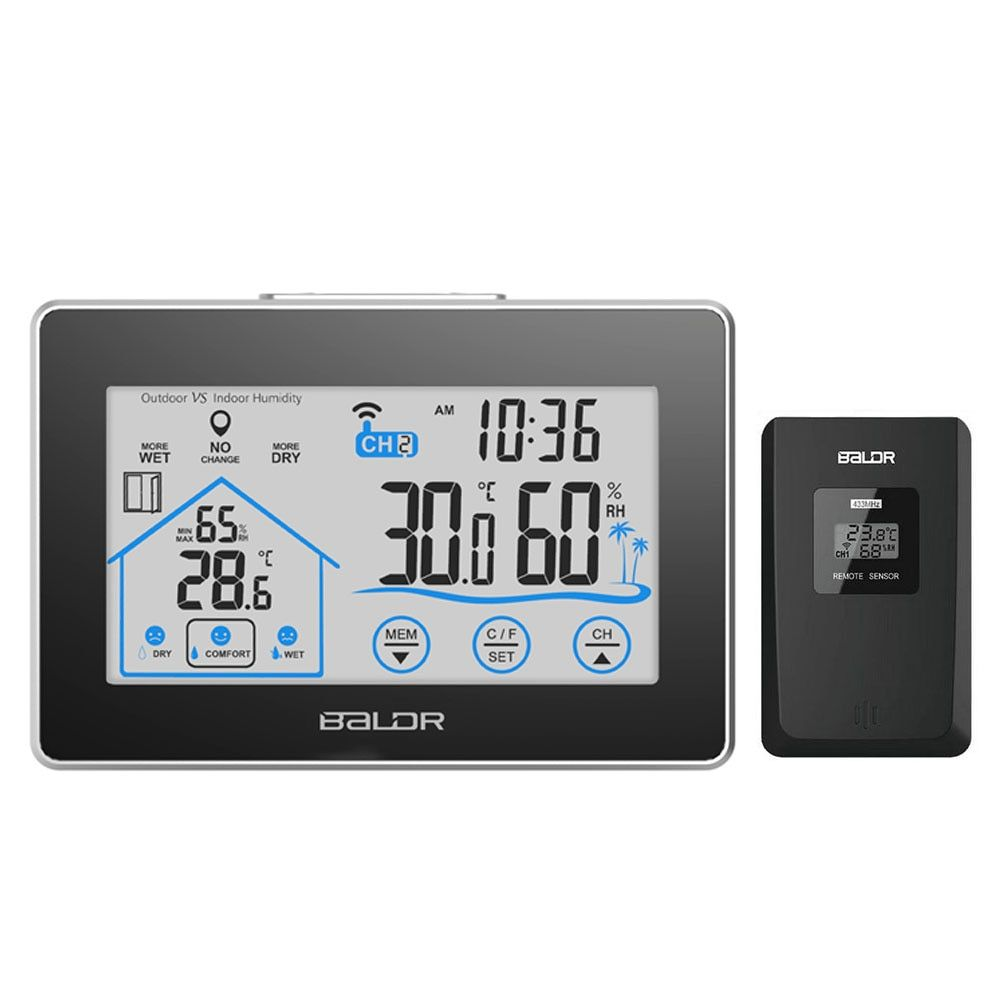 Baldr Wireless Weather Station Digital Touch Hygrometer Humidity Temperature Sensor Thermometer Indoor Outdoor Color Screen