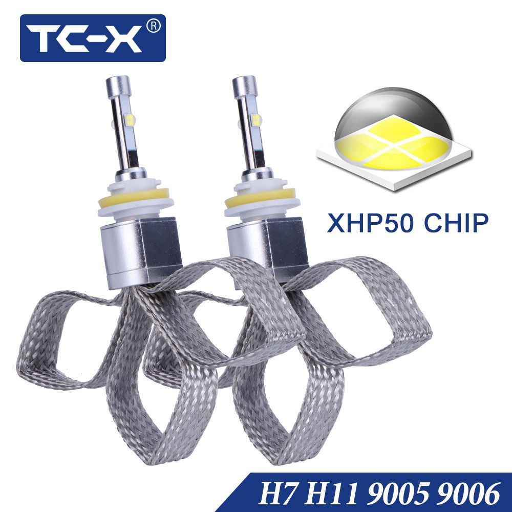TC-X 10000LM XHP50 Chip Car Light H7 LED H11 H8 Fog Light 9005 HB3 9006 HB4 6000K Pure White Super Bright Replace Lens Headlight