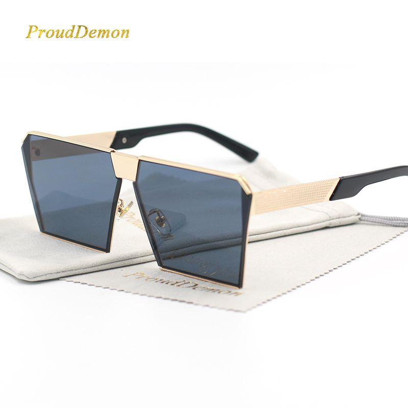 Marque de mode Designer Carré lentille Plate Lunettes de Soleil Miroir Femmes lunettes de Soleil Hommes Hip Hop Surdimensionné Dame Lunettes Mâle FDA UV400
