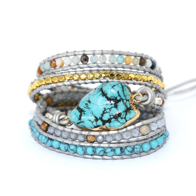 2019 newest Unique Mixed Natural Stones turquoises Charm 5 Strands Wrap Bracelets Handmade Boho Bracelet Women Leather Bracelet