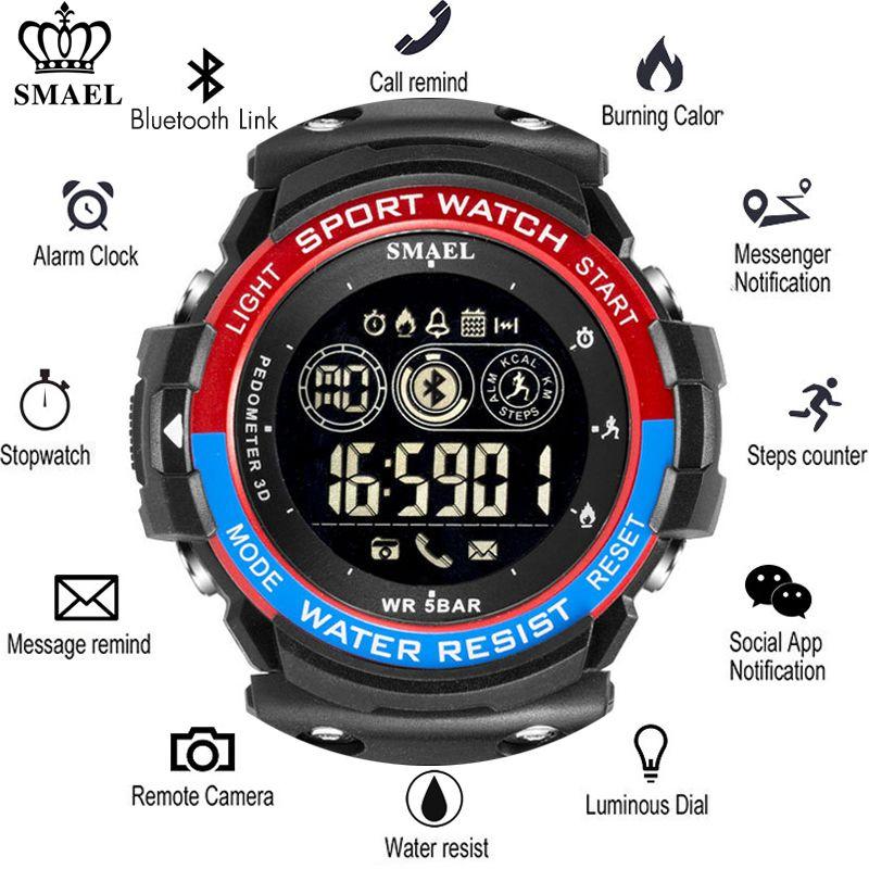 SMAEL Sports Mens Smart Watch Men Pedometer Calories Reminder Multi-Functions Smartwatch Digital Wrist Watches Mens Bluetooth