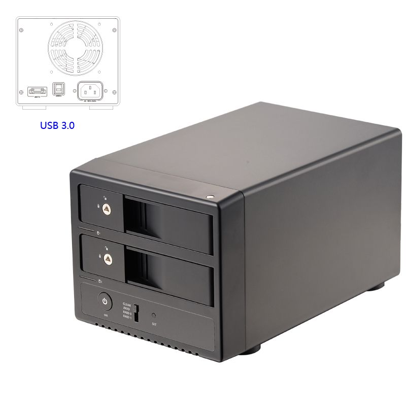 Uneatop 3,5 dual-bay USB3.0/eSATA aluminium fall 3,5 zoll SATA III heißer-swappble Festplatte externes festplattengehäuse mit UASP/RAID