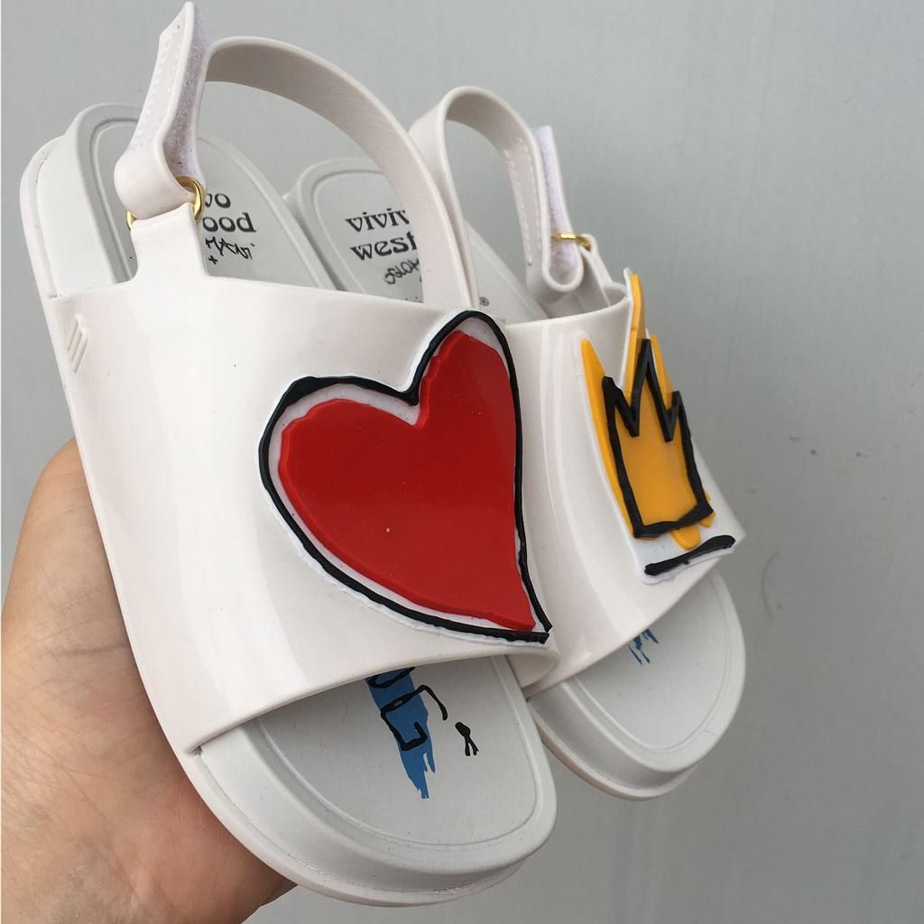 Melissa <font><b>Crown</b></font> and Red Heart Mini Sandals 2018 New Summer Rain Shoes Jelly Shoe Girl Non-slip Kids Sandal Toddler