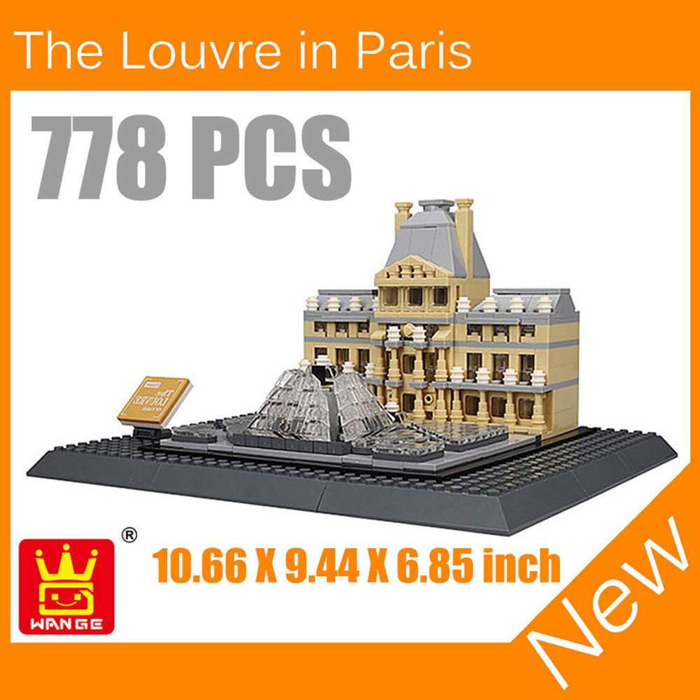 The Louvre Paris Italy Roma Fontana 3D Model Building Blocks Architecture Creator Series Classic Compatible Legoed House Kid Toy
