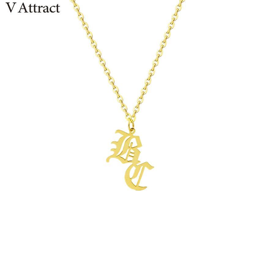 Unique ancien anglais 2 collier Initial or rempli nom personnalisé déclaration colliers pour femmes gothique bijoux noël