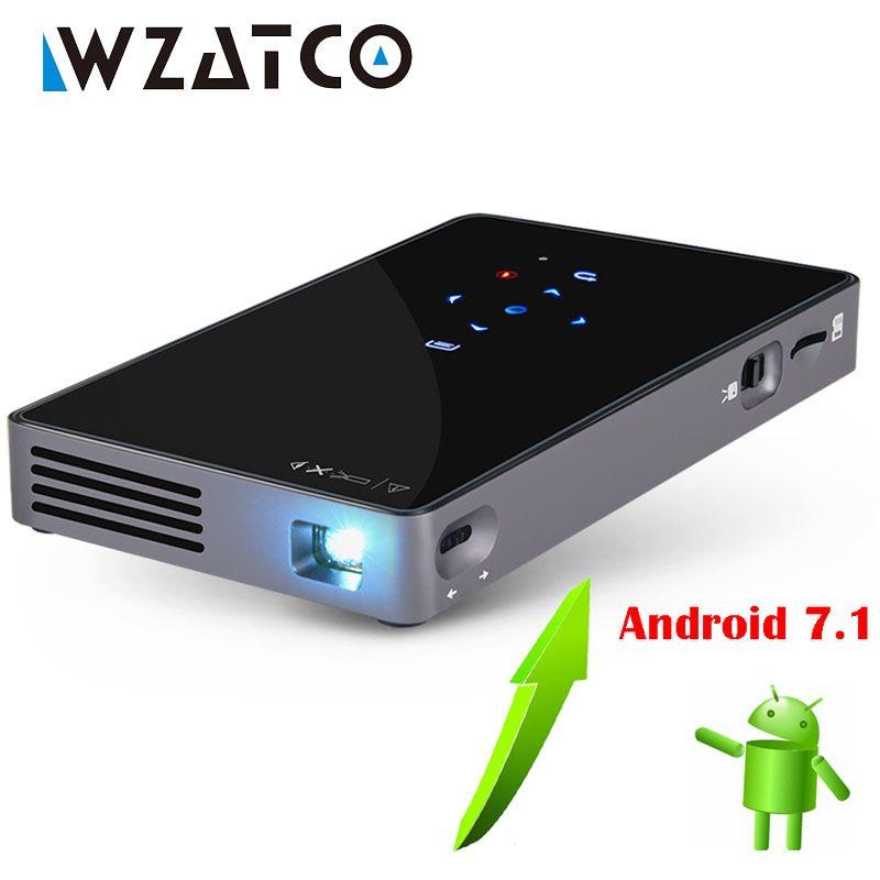 WZATCO CT50 Android 7.1 OS WIFI Bluetooth Pico Mini Micro lAsEr DLP Projektor Tragbare Proyector mit Batterie für Heimkino