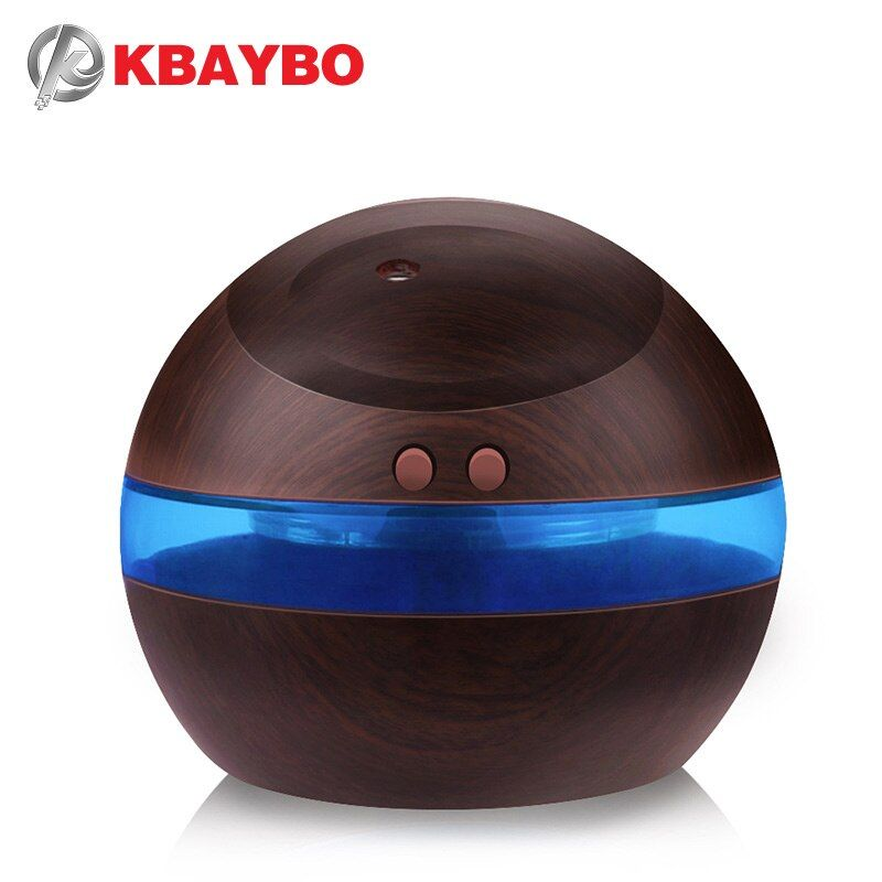 USB Ultrasonic Humidifier, 300ml Aroma Diffuser Essential Oil Diffuser Aromatherapy mist maker with Blue LED <font><b>Light</b></font> (Dark wood)