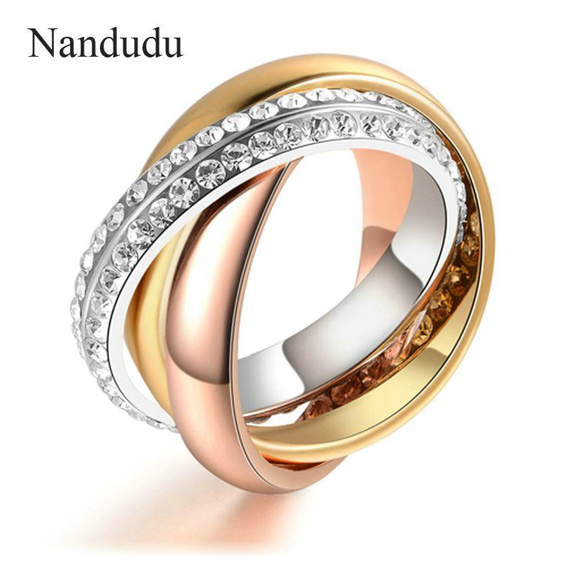 Nandudu 3 en 1 anneau mode tendance jolis cristaux bijoux cadeau pour femmes offre spéciale trois or couleur anneaux accessoires R586