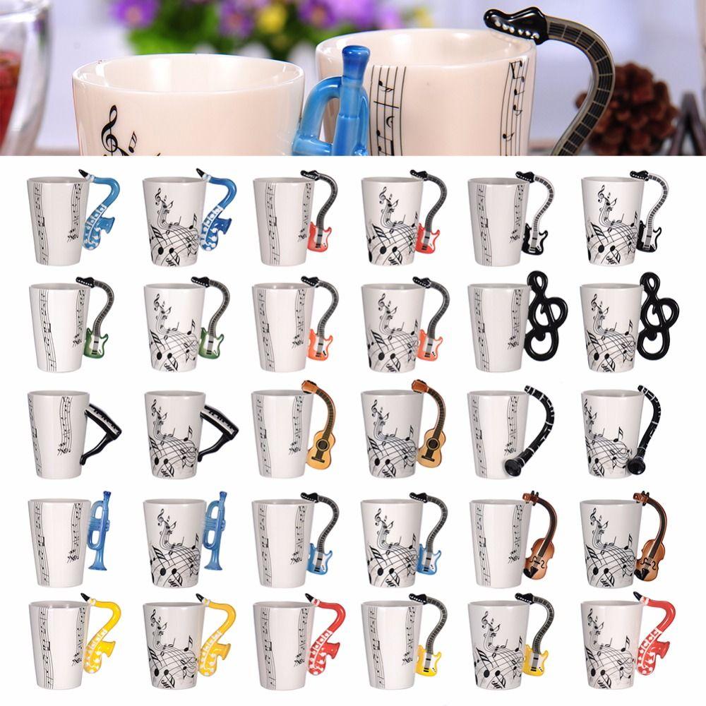 Creative Music Violin Style Guitar Ceramic Mug Coffee Tea Milk Stave Cups with Handle Coffee Mug Novelty Gifts