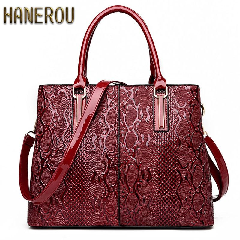 New Fashion PU Leather Women Bag Ladies Luxury Snake Shoulder Bags Designer Handbags High Quality 2018 Spring Ladies Tote Bag