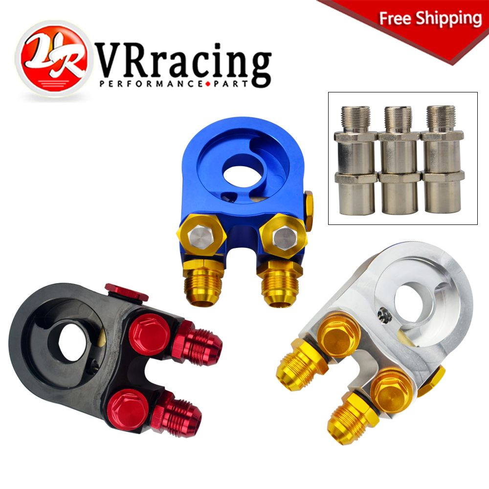 FREE SHIPPING Aluminum AN10 OIL COOLER ADAPTER SANDWICH TURBO WITH Thermostat And FITTING 3/4-16 UNF,M20*1.5 VR6746