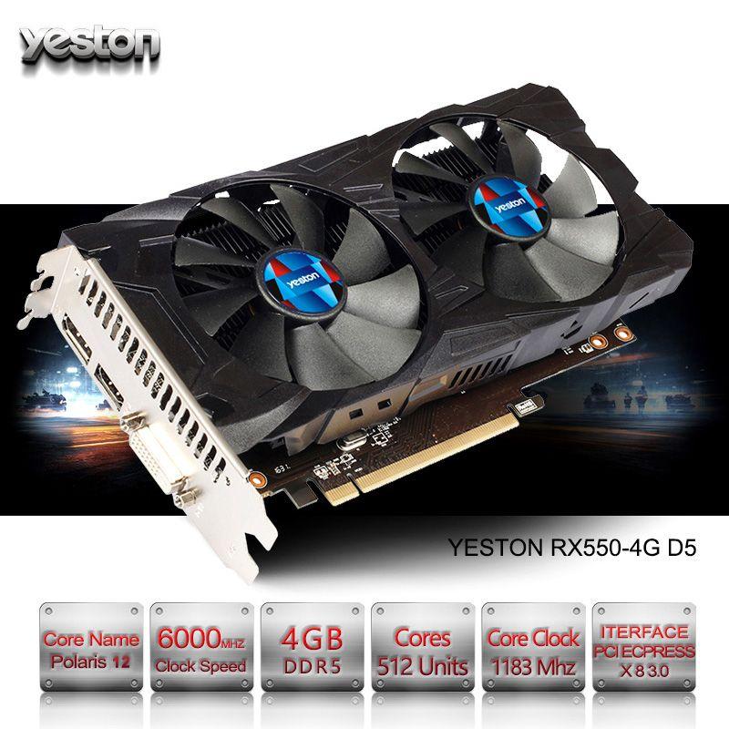 Yeston Radeon RX 550 GPU 4GB GDDR5 128bit Gaming Desktop computer PC Video Graphics Cards support PCI-E 3.0