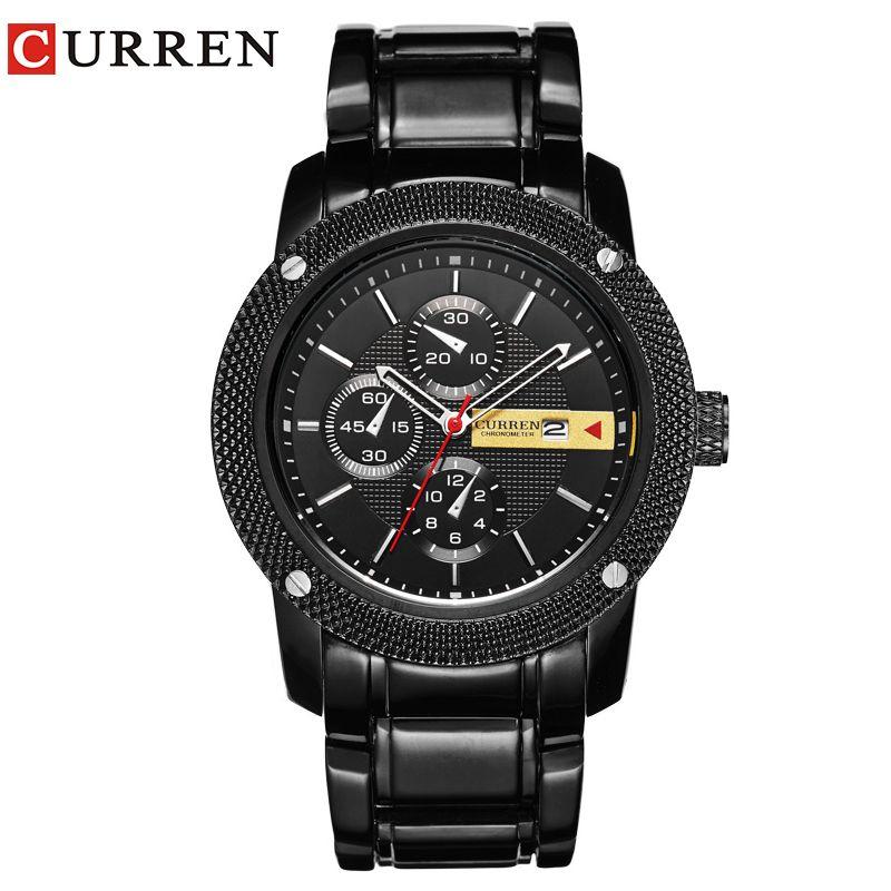 Curren 8069 Luxus Sport Quarz Männer Armbanduhr Analog Runde Armbanduhr Mit Überzogenes Metall Schwarz Band Stunden Datum