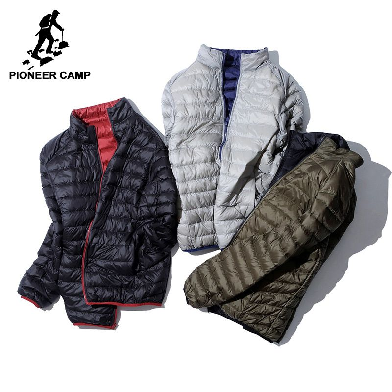 Pioneer Camp ultra Thin Packable down jacket men brand-clothing simple casual duck down coat male reversible wear AYR701384