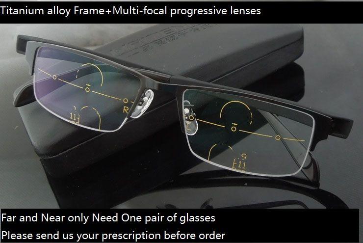 Smart zoom асимптотически Multi-Фокусное прогрессивный Бифокальная дальнозоркостью очки; Titanium сплава рама + Freeform прогрессивные линзы