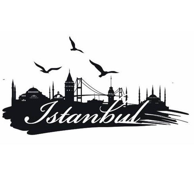 ISTANBUL ville décalcomanie repère horizon Stickers muraux croquis décalcomanies affiche Parede décor à la maison MosqueSticker