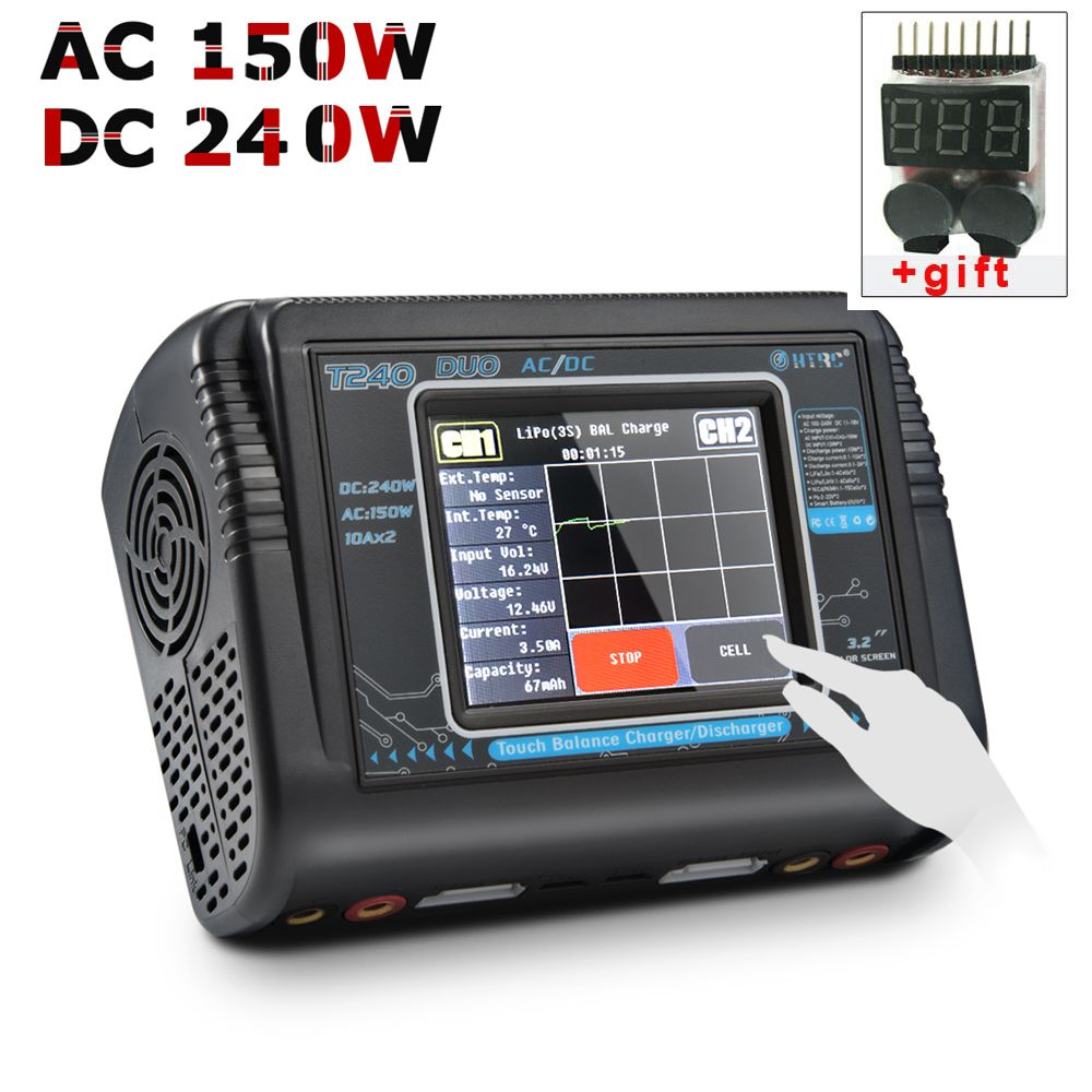 RC Lipo Charger HTRC T240 DUO AC 150W/DC 240W Touch Screen Dual Balance Discharger for LiPo LiHV LiFe Lilon <font><b>NiCd</b></font> NiMh Pb Battery