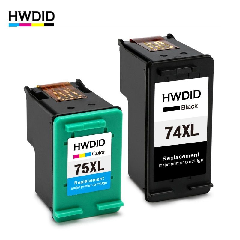 HWDID 74XL 75XL Refilled Ink Cartridge Replacement for HP 74 75 for Photosmart C4200 C5200 C4300 Officejet J5780 C4280 4345 4380