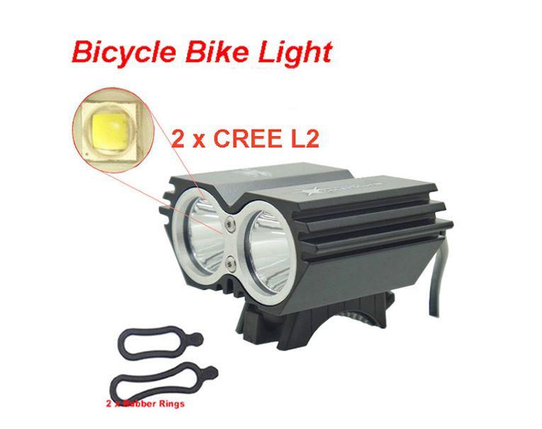 Bike Light X2 L2 5000 <font><b>Lumen</b></font> SolarStorm Bicycle lamp 2x Cree XML L2 LED BicycleLight Bike headLamp+O ring (only headlight)