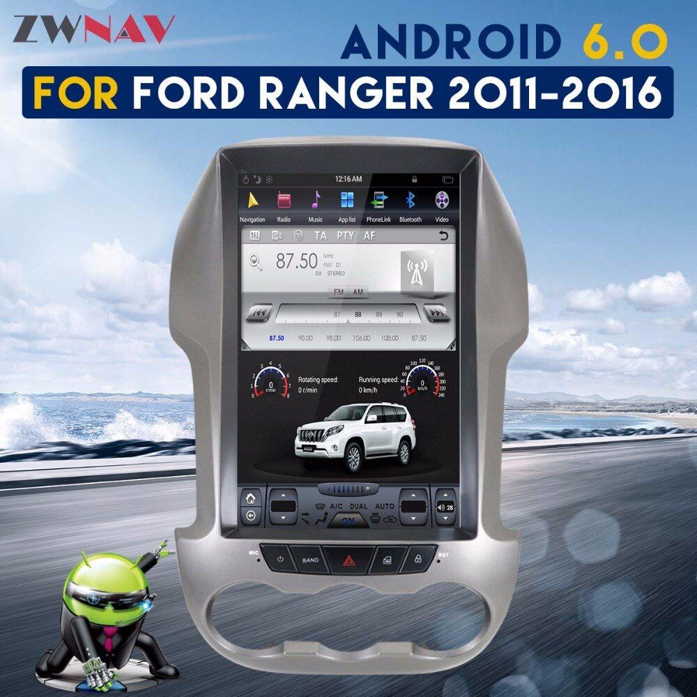ZWNAV Tesla Style Screen Newest Android 6.0 2+64GB No CD Player GPS Navigation Car Radio For Ford Ranger F250 2011-2016 Free map