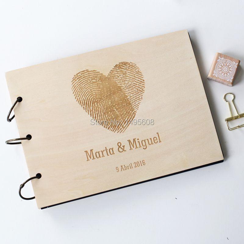 Encargo de la boda libro de visitas de madera rústico álbum libro de invitados de la boda nupcial de la ducha del contrato del aniversario-Huella Digital Corazón