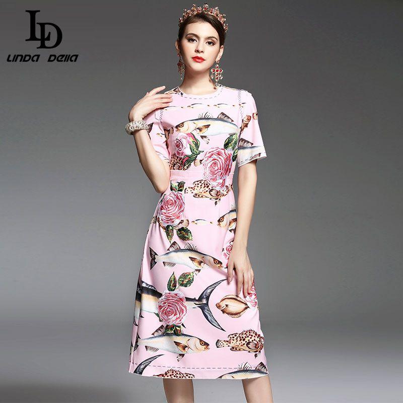 Haute Qualité Nouvelle 2017 Printemps Été Designer Piste Robe Femmes élégant Mi-mollet Longueur Floral Broderie Imprimé Rose Robe