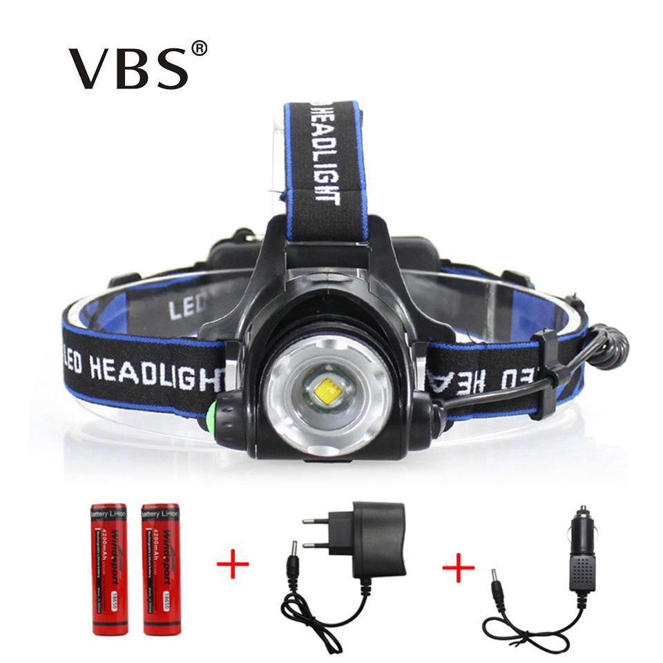 LED Headlamp Cree XM-L T6 led 2000LM rechargeable Head lamps Headlights lamp lights use 18650 battery AC Charger Head light