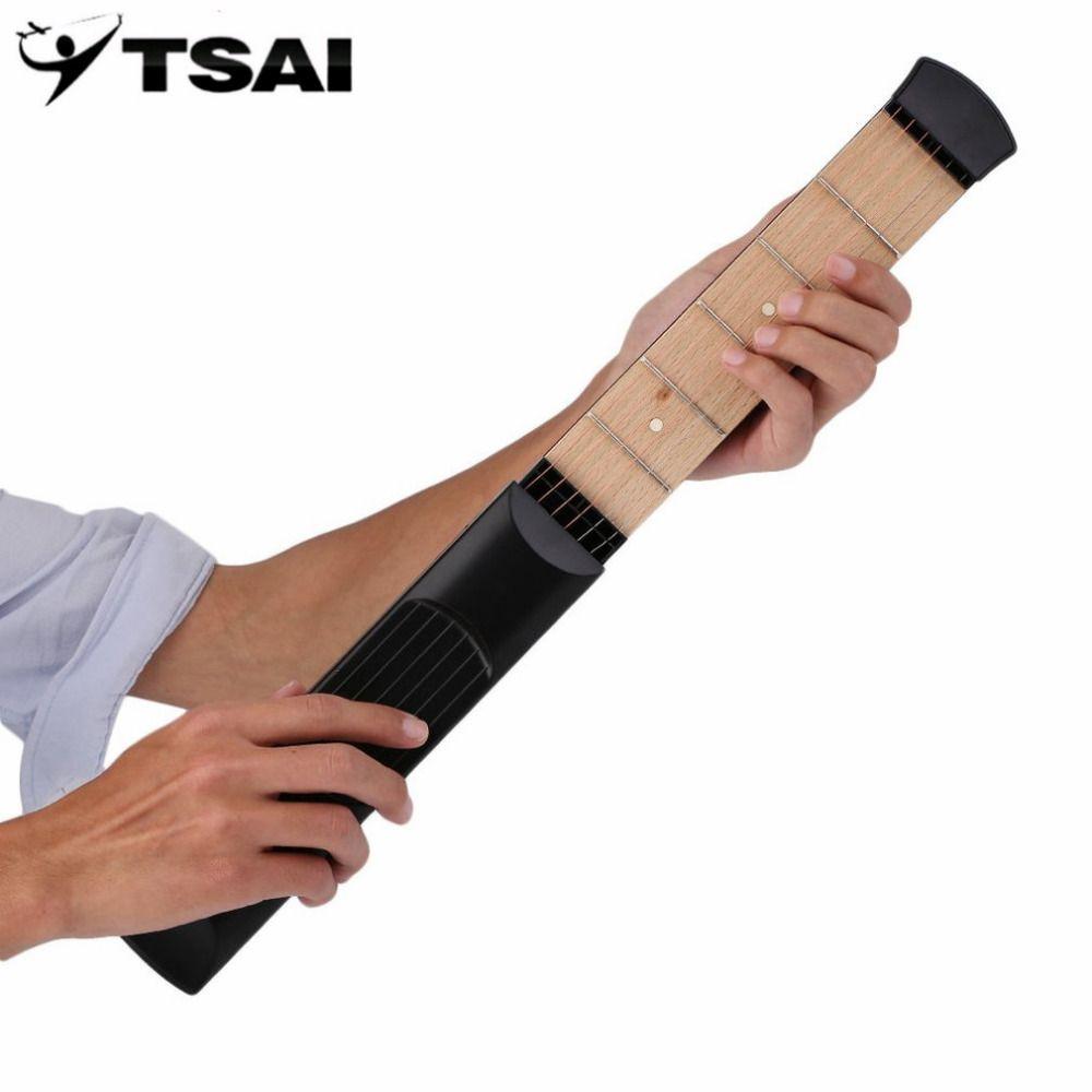 TSAI Pocket Acoustic Guitar Practice Tool Guitar PartsGadget Chord Trainer 6 String 6 Fret Model for Guitarra Beginner players