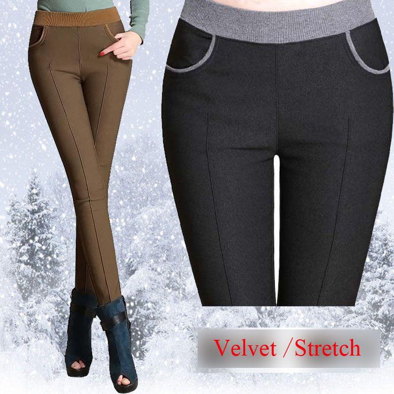 winter women warm pants Plus size 4XL thick fleece ladies pencil pants Black Khaiki elastic waist Velvet <font><b>Trousers</b></font> 2018 Leggings