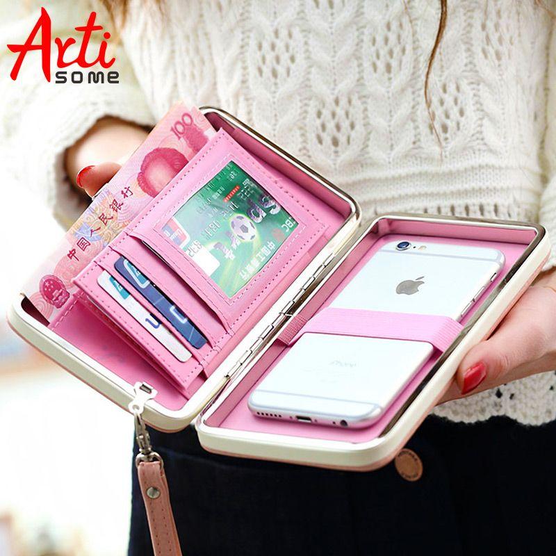 ARTISOME Portefeuille En Cuir Cas Pour iPhone 7 6 Plus 5S Téléphone Sac Cas Femmes Bourse de Portefeuille Titulaire de la Carte Universelle Pour samsung S8 Cas