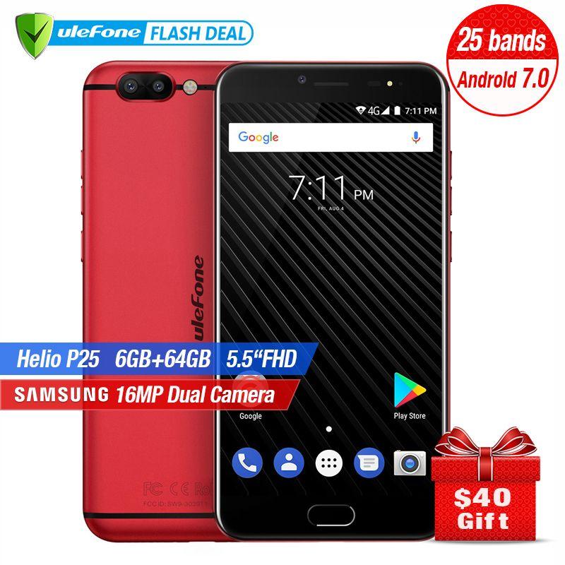 Ulefone T1 Double Caméra Arrière Téléphone Portable 5.5 pouce FHD Helio P25 Octa Core Android 7.0 6 gb + 64 gb 16MP Cam D'empreintes Digitales 4 GSmartphone