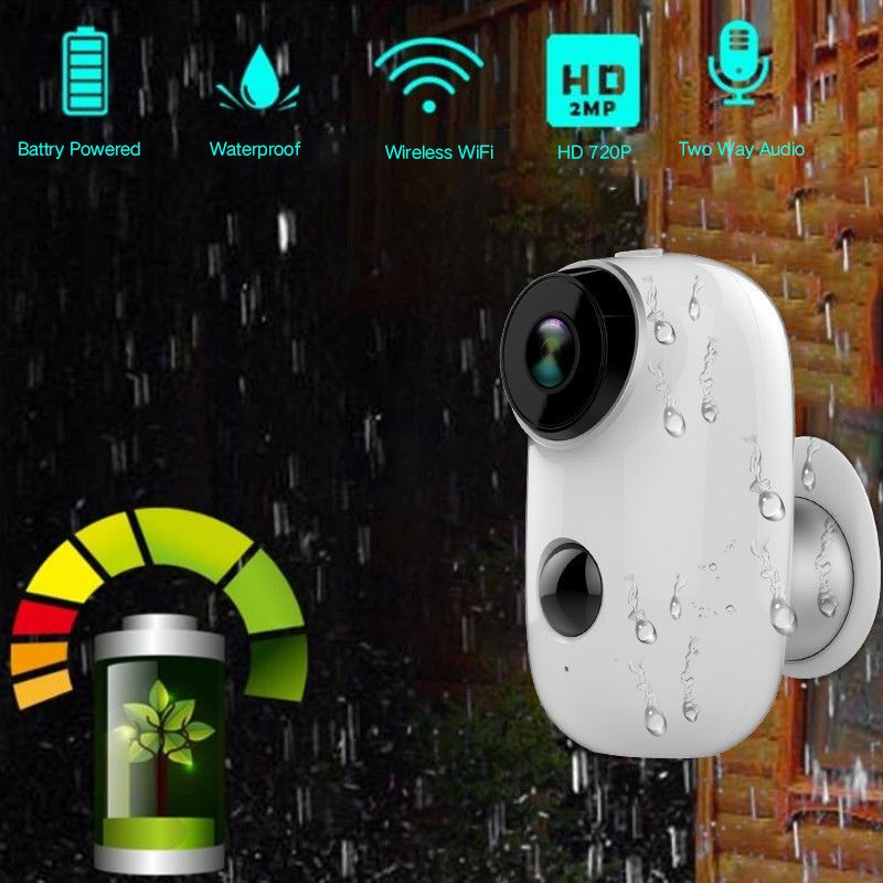SDETER 100% Wire-Free Rechargeable Battery IP Wifi Camera 720P Outdoor Indoor Weatherproof IP65 CCTV Security Camera Wide View