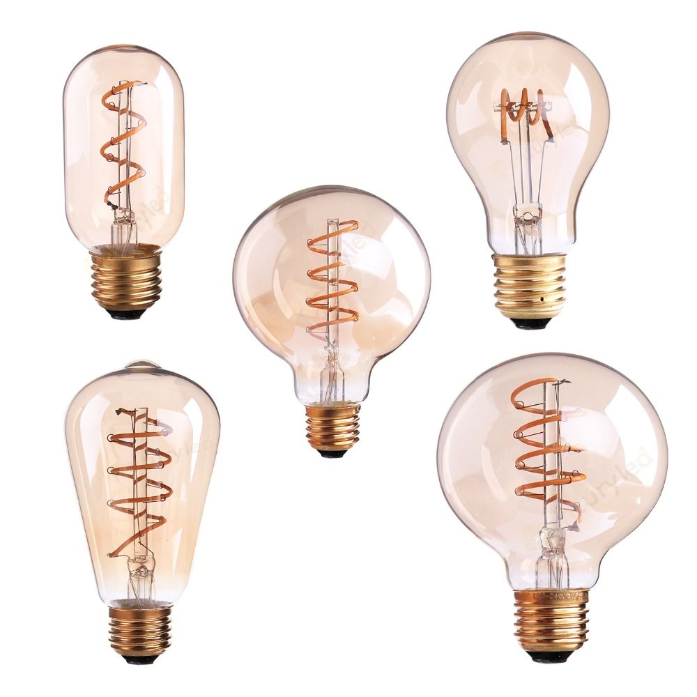 T45 A19 ST64 G80 G95 G125,Spiral LED Filament Light Bulb,3W 2200K,Retro Vintage Lamps,Decorative Lighting,Dimmable