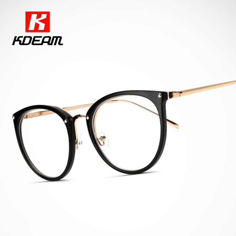 Easy to Carry Computer Spectacle Cats Clear Glasses Frame Women Eyeglasses Transparent Lens With Package Kdeam CE