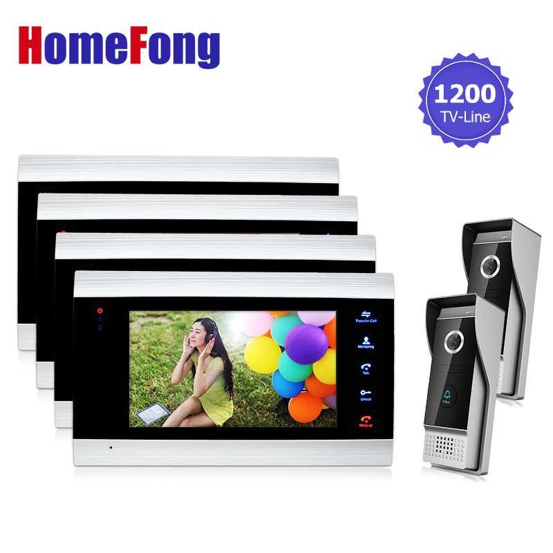 Homefong Wire Doorbell Intercom Video Doorphone System 2V4 For Villa Time Adjustable Color Door Intercom Camera Dual Way Talk