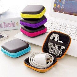 Portable Hard Headphone Case with Zipper/PU Leather Case/Protective Earphone Bag/USB Cable Organizer/Mini Earbuds Pouch Boxs
