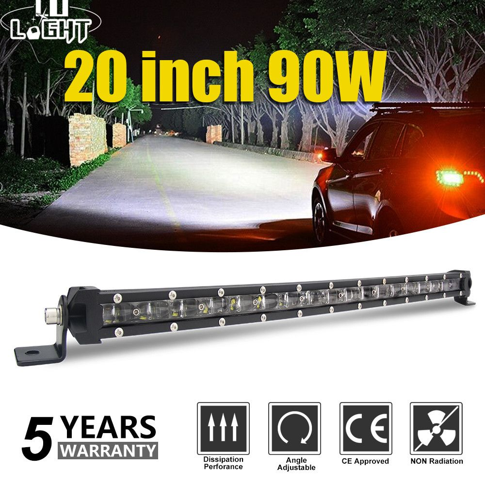 CO LIGHT Super Slim 6D 20 Inch 90W Led Light Bar Combo Led Beams Auto Work Light for Jeep ATV Lada Niva Off-Road 12V 24V Led Bar