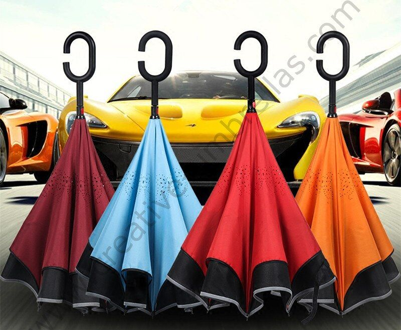 2pcs/lot 98cm 2-3persons C-Hook reflective neon Windproof Reverse hands-free car umbrella Double Layer Inverted stand parasol