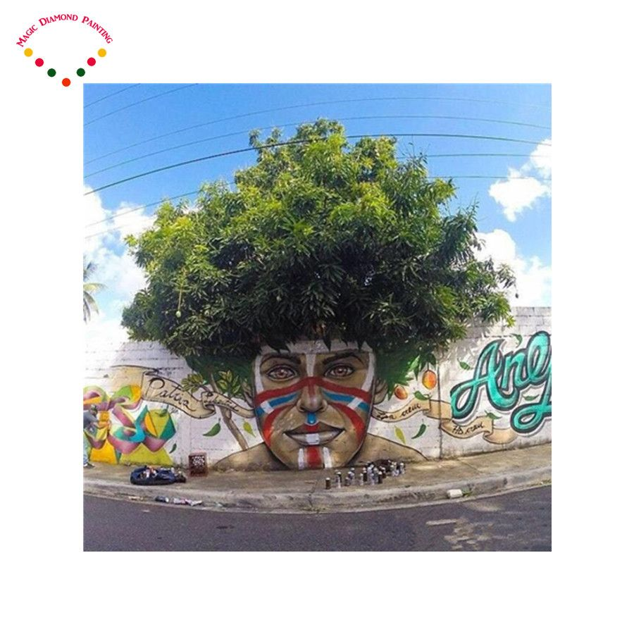 5d diy diamant malerei kreuzstich diamant stickerei diamant mosaikbild harz scenic Super street view art trees Color face man