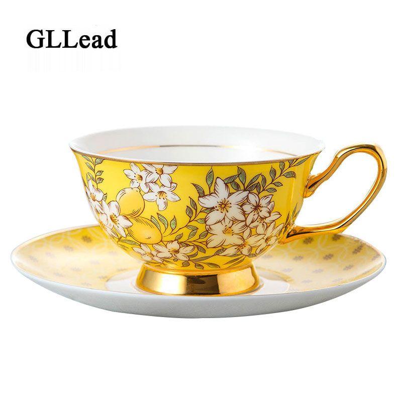 GLLead Style coréen os chine tasse à café soucoupe conception de qualité supérieure en or jaune fleur thé tasse à thé porcelaine noire ensemble